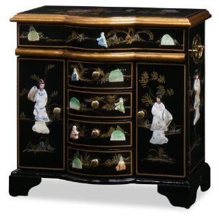 Chinese Jewelry Cabinet   Black Lacquer Pearl Motif   Jewelry Chests