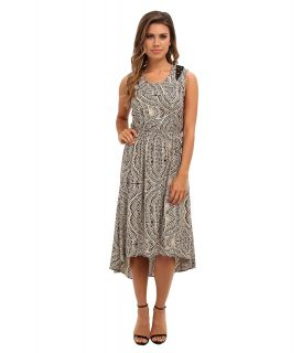 Angie Lattice Trim Print Dress Womens Dress (Beige)