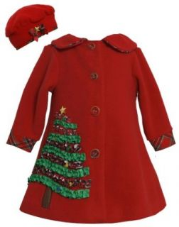 Bonnie Jean Girls 2T 4T Red Sequin Holiday Tree Applique Fleece Coat / Hat Set Clothing