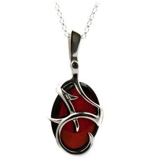 Cherry Amber Sterling Silver Top Quality Large Oval Pendant Rolo Chain 18 Inches: Ian and Valeri Co.: Jewelry