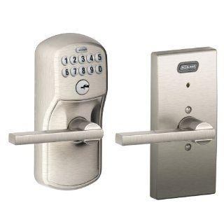 Schlage FE576 PLY 619 LAT CEN Built in Alarm, Century Collection Keypad Latitude Lever Door Lock, Satin Nickel   Electronic Lock