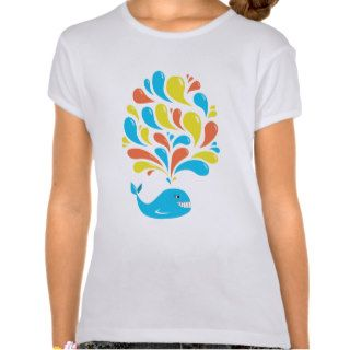 Colorful Splash Happy Cartoon Whale Girl Tees