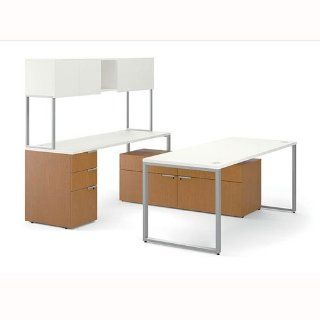 "HON HONVC7292U2B Voi Contemporary U Station, With Low Credenza, Stack on Storage, 72""W x 92""D x 65""H, Sliver Mesh Laminate Worksurface, Harvest Laminate Pedestals : Office Credenzas : Office Products"