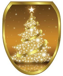 Toilet Tattoos TT X609 O Gold Christmas Tree Decorative Applique For Toilet Lid, Elongated   Toilet Lid Decals