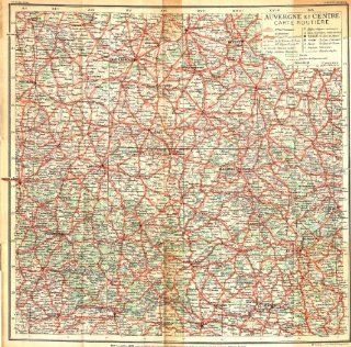 FRANCE: Auvergne Centre Carte Routiere, 1935 map   Wall Maps