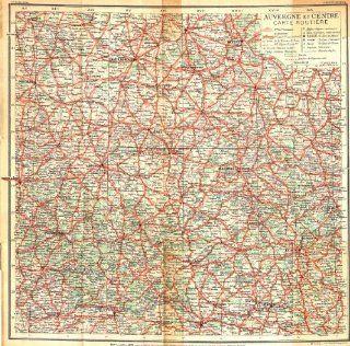 FRANCE: Auvergne Centre Carte Routiere, 1935 map   Wall Maps