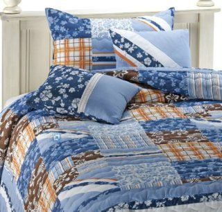Blue Hawaiian Hibiscus Beach House Plaid Cotton 2 Piece Twin Quilt & Sham Set   Twin Bed Set Surfer