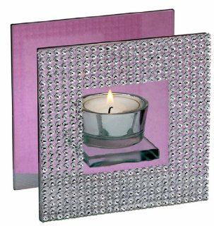 Biedermann & Sons Diamond Frame Glass Tealight Candle Holder, 4 7/8 Inches Square   Tea Light Holders