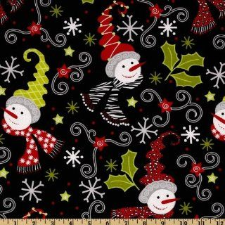 44'' Wide S'Noel Winter Wonderland Black Fabric By The Yard