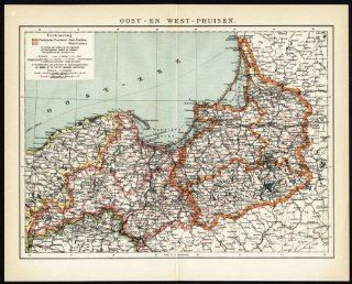 Antique Map EAST EAST WEST PRUSSIA GERMANY Winkler Prins 1905   Lithographic Prints