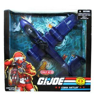 """Hasbro Year 2008 G.I. Joe Exclusive Deluxe Action Figure Vehicle Set   COBRA Fighter Jet RATTLER (Dim 16"""" x 18"""" x 5"""") with Removable Missiles, Fold Up Landing Gear, Removable Bombs and Opening Canopy Plus 4 Inch Tall Pilot Figure """"Wild"""