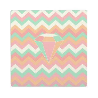 Pastel coralino rosado Chevron del diamante de la  Placas Para Mostrar de