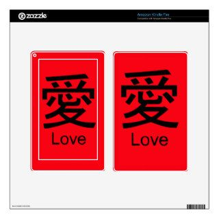 LOVE in Kanji Characters Cases and Covers Kindle Fire Skin