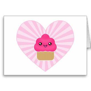 Kawaii Cupcake Heart Birthday Card