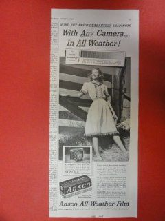 Ansco all weather film, 1950 Print Ad (Girl/fence.) Orinigal Vintage Post magazine art. : Everything Else