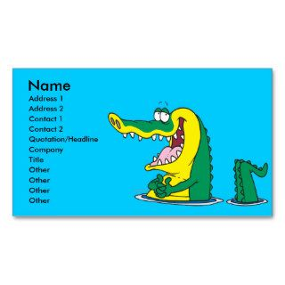 silly alligator crocodile cartoon character business card templates