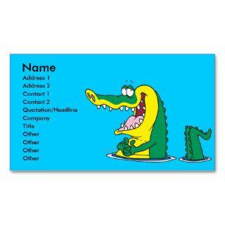 silly alligator crocodile cartoon character business card templates
