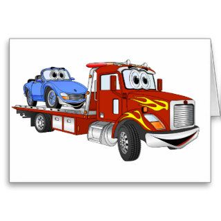 Red Cartoon Flatbed Tow Truck Card