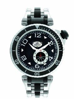 Gio Monaco Men's 651 Poseidon Black Dial Steel and Black PVD Watch: Watches
