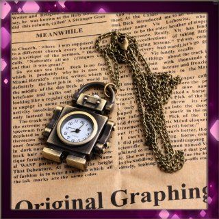 Vintage Style Robot Pocket Watch Locket Pendant Quartz Bronze Long Necklace: Jewelry