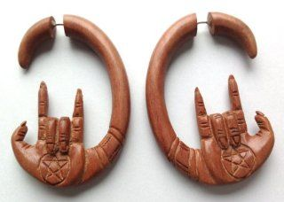 "Saba Wood ""Devil Horns"" Fake Gauge Earrings 666 Rocker Metal By Primal Distro: Jewelry"