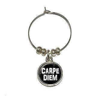 Carpe Diem Seize the Day Latin Inspirational Distressed Wine Glass Charm Drink Stem Marker Ring: Kitchen & Dining