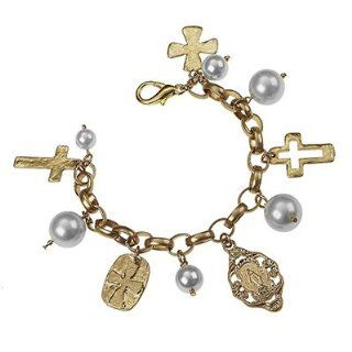 "Catholic & Religious Saints Bracelet. St. Mary Charm & Cross & Ivory Pearl Charm Bracelet •Features * Worn Gold Plating * Charm Bracelet * Religious Relics & Cross Charms * Ivory Peals * Approx. Length 7.5"" * Lobster Clasp Clo"