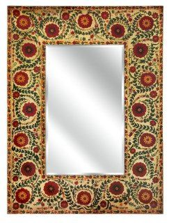 """40"""" Red and Orange Floral Tapestry Decorative Wall Mirror   Wall Mounted Mirrors"""