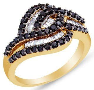 14K Yellow and White Two 2 Tone Gold Invisible & Channel Set Round Brilliant and Baguette Cut Black and White Diamond Ladies Womens Fashion, Wedding Ring OR Anniversary Band (.95 cttw.): Jewelry