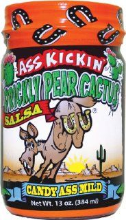 Ass Kickin' Prickly Pear Cactus Salsa   Thick and chunky, made with Prickly Pear Cactus Fruit, Green Chiles, Crushed Garlic and Spices.  Grocery & Gourmet Food