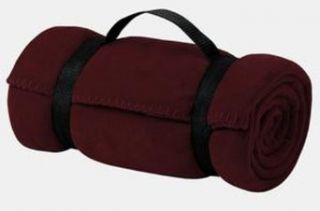 Upscale Poly Fleece Blanket with Straps   Maroon: Clothing