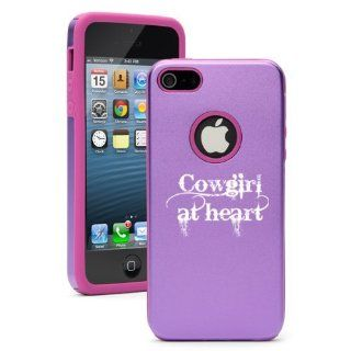 Apple iPhone 5 5S Purple 5D2184 Aluminum & Silicone Case Cover Cowgirl At Heart: Cell Phones & Accessories
