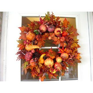 Nearly Natural 4648 Harvest Wreath Fall, 28 Inch, Gold   Thanksgiving Wreath