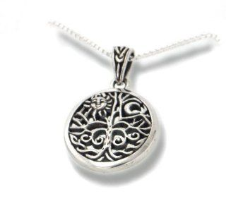 "Celtic Tree of Life Art Symbol with Sun and Moon Sterling Silver Pendant with 18"" Necklace: Jewelry"