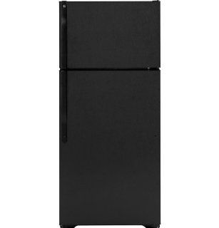 GE GTH17DBDBB 16.5 Cu. Ft. Black Top Freezer Refrigerator   Energy Star: Kitchen & Dining
