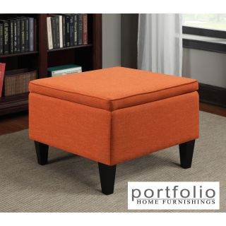 Portfolio Engle Orange Linen Table Storage Ottoman