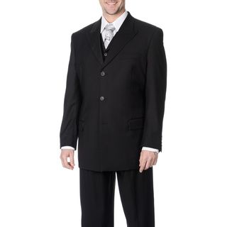 Caravelli Fusion Mens Black 3 piece Vested Suit