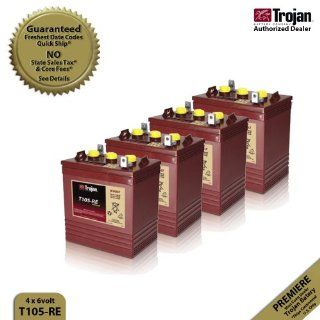 4x Trojan T105 RE Renewable Energy 6V GC2 Deep Cycle Battery 225Ah : Solar Panels : Patio, Lawn & Garden