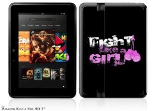 Fight Like A Girl Breast Cancer Ribbon and Boxing Gloves Decal Style Skin fits 2012  Kindle Fire HD 7 inch: Computers & Accessories