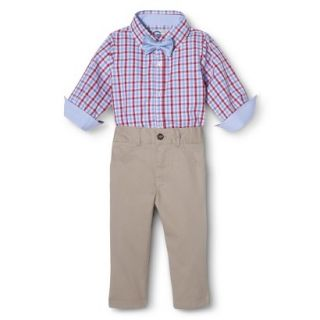 G Cutee Newborn Boys 3 Piece Shirtzie, Pant and Bow Tie   Red Hot 3 6 M