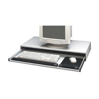 Buddy Products Desktop Keyboard and Mouse Keeper, Static Dissipating Steel, 16.25 x 3.5 x 31.5 Inches, Platinum (9655 32) : Computer Monitor Stands : Office Products