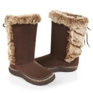 ISOTONER Women's Woodlands Microsuede Fur Lace Up Tall Boot Slippers (7.5 8, Chocolate): Shoes