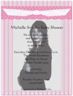Pink Gingham Photo Baby Shower Invitations   Set of 20  Baby Shower Party Invitations  Baby