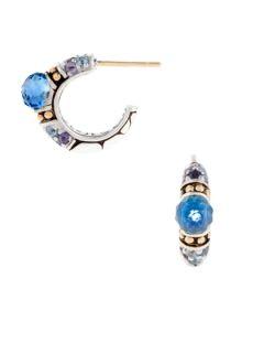 Batu Kali Gold, Silver, & Blue Topaz Sea Hoop Earrings by John Hardy