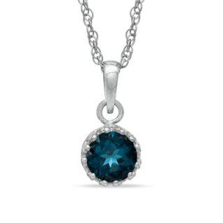 0mm London Blue Topaz Crown Pendant in Sterling Silver   Zales