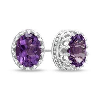 Oval Amethyst Crown Earrings in Sterling Silver   Zales