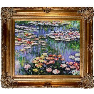 Hand Painted Reproduction of Claude Monet Water Lilies (pink) Framed Oil Painting, 20 x 24   Monet Painting Reproduction On Canvas