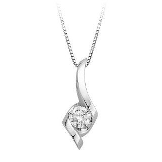 3/8 ct. Diamond Sirena Solitaire Pendant in 14K White Gold: Jewelry