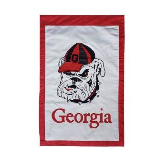 "NCAA University of Georgia Bulldogs White & Red Outdoor Garden Flag 44"" x 28"" : Outdoor Decorative Flags : Patio, Lawn & Garden"