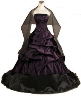 New Embroidery Pleat Beads Tiered Train Purple Black Wedding Dress Prom Gown: Clothing